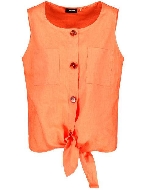 taifun - Leinenbluse zum Knoten Orange 48/XL
