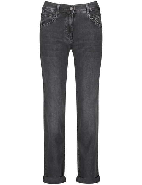 gerry weber - Jeans mit Krempelsaum Relaxed Fit Organic Cotton Grau 42/M