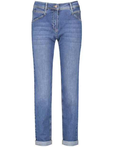 gerry weber - Jeans mit Krempelsaum Relaxed Fit Organic Cotton Blau 48/XL