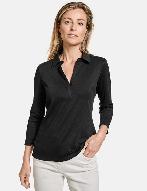 gerry weber - 3/4 Arm Polo-Shirt Schwarz 48/XL