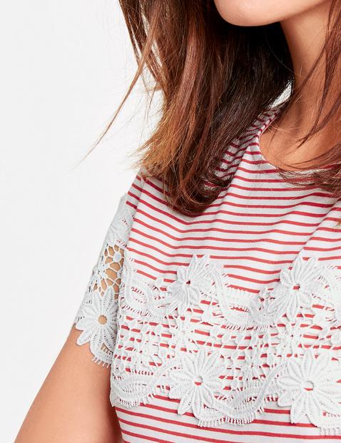 Ringel-Shirt mit Spitze