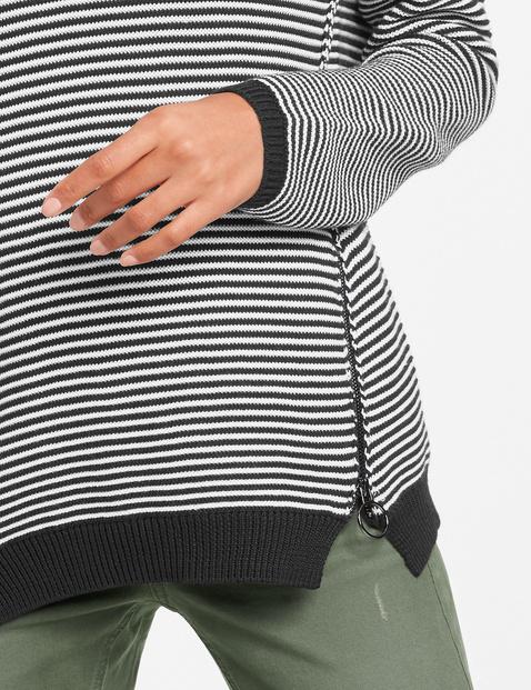 Ringel-Pullover mit Zippern