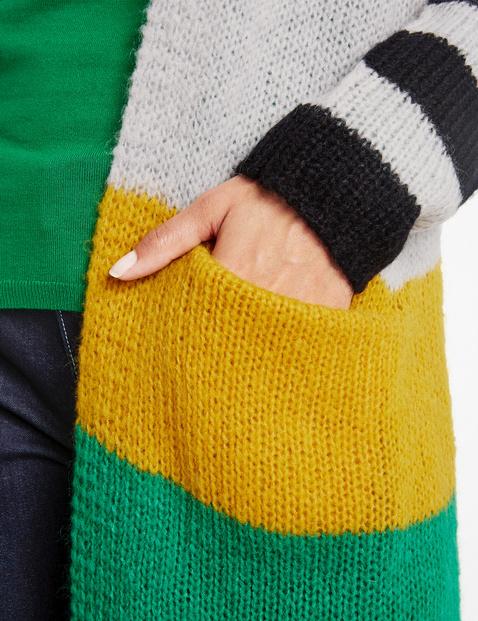 Long-Cardigan mit Colour-Blocking
