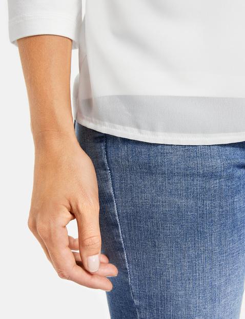 3/4-sleeve top with chiffon