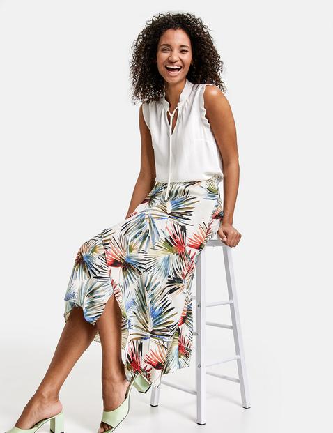 Kopertowa spódnica z kolorowym nadrukiem w liście palmowe