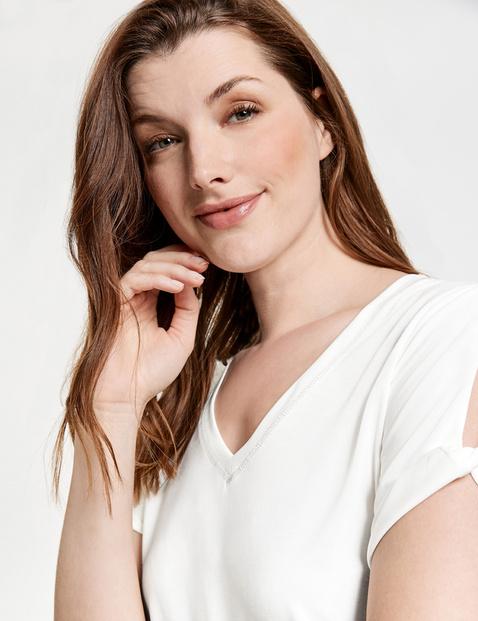 Basic shirt met geraffineerde korte mouwen