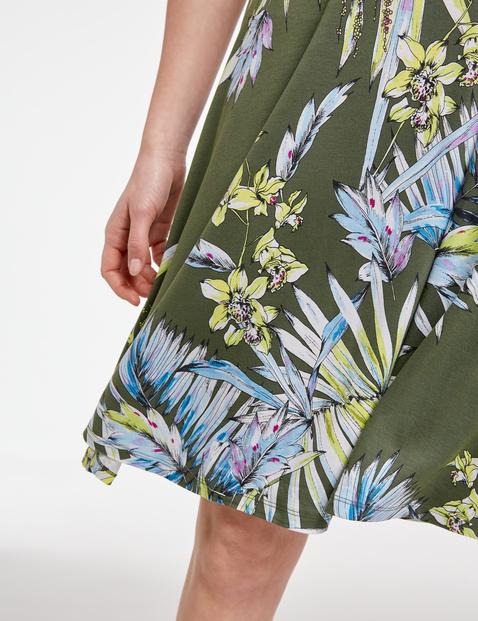 Jersey jurk met exotische bloemenprint, EcoVero
