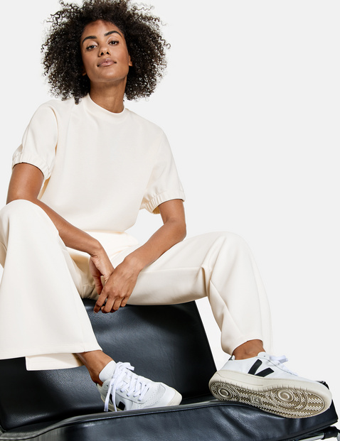 Jersey trousers with hem slits