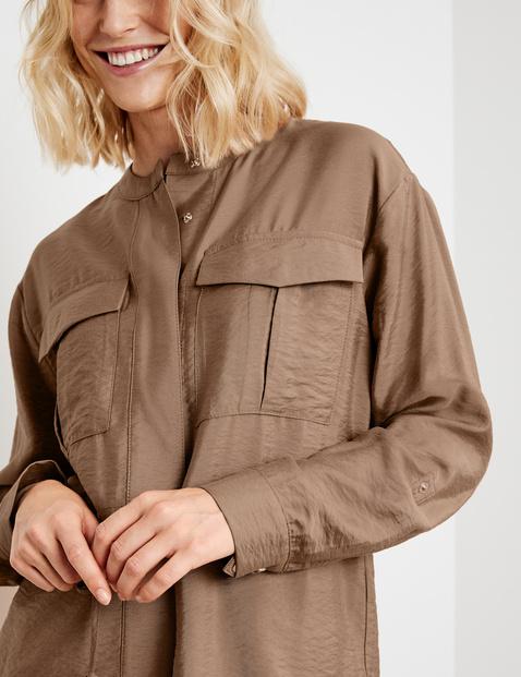 Lightweight blazer jacket with drawstring