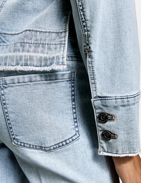 Denim jacket with side slits