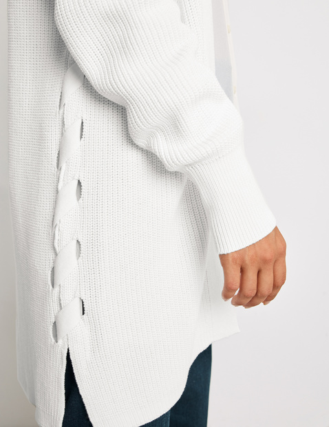 GOTS-certified organic cotton long cardigan with lacing