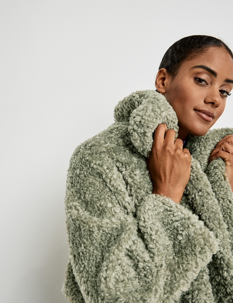 Faux fur jacket with batwing sleeves