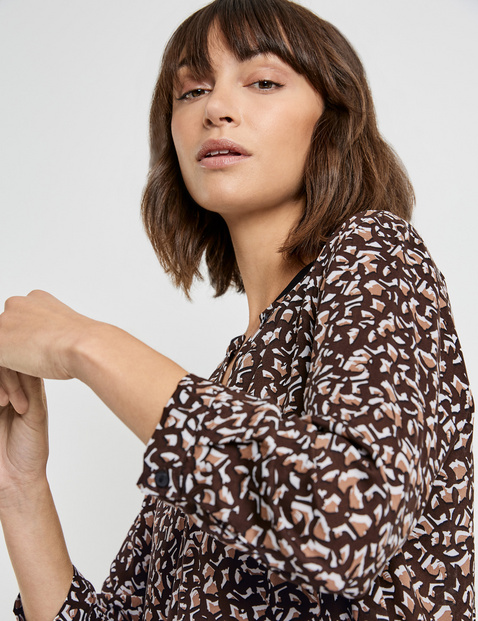 Blouse top with a mid-length button placket made of EcoVero viscose
