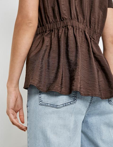V-Shirt mit Blusen-Rücken