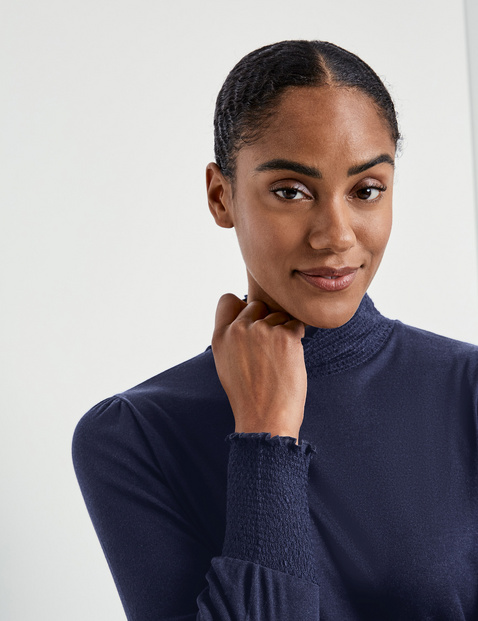 Lyocell long sleeve top with smocked details