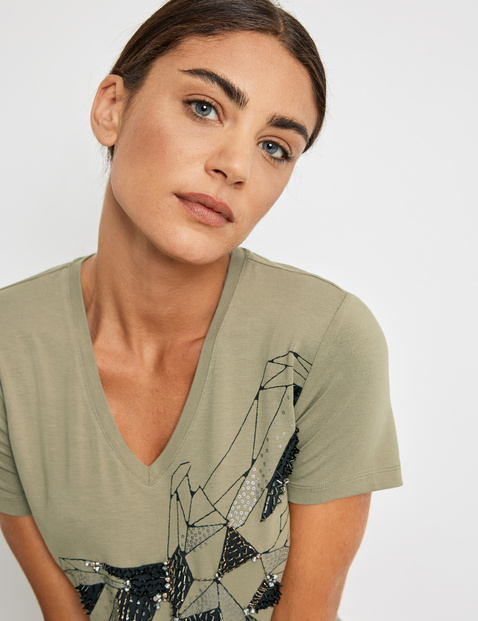 T-Shirt mit Applikation EcoVero