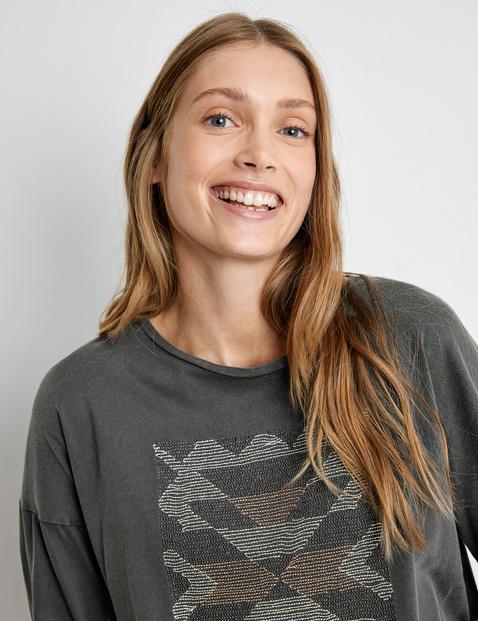 Shirt met 3/4-mouwen en borduursel van GOTS-gecertificeerd katoen