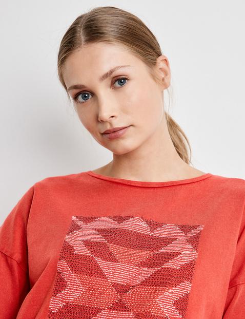 3/4 Arm Shirt mit Stickerei GOTS zertifizierte Baumwolle