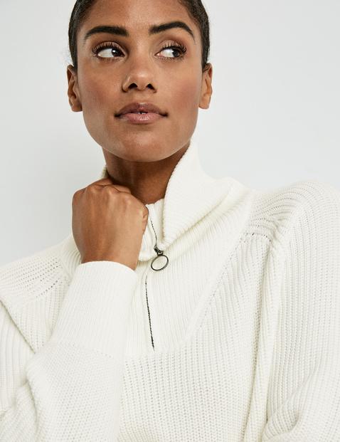Sweter z kołnierzem typu troyer, bawełna ekologiczna