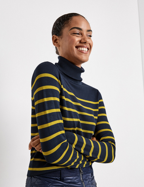 Polo neck jumper with stripes