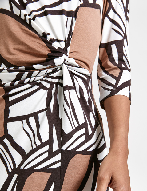 Midi dress with draping at the waist