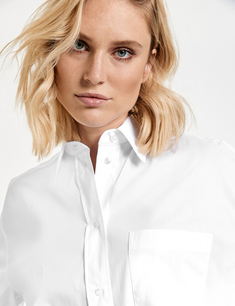 Long shirt blouse in blended cotton