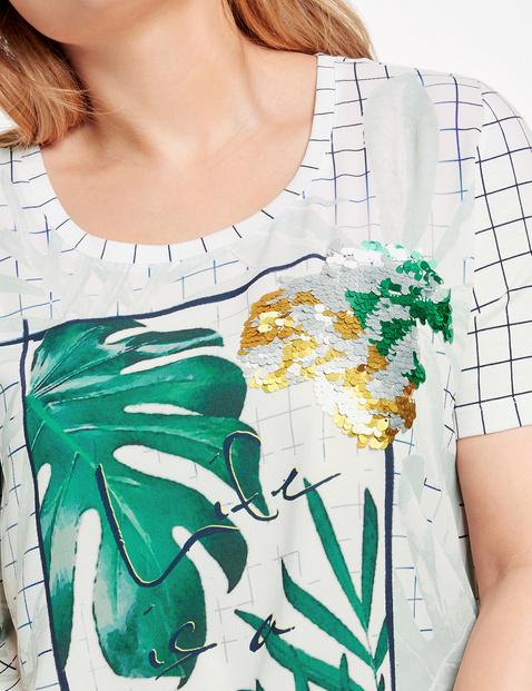Shirt mit Material-Mix und Pailletten