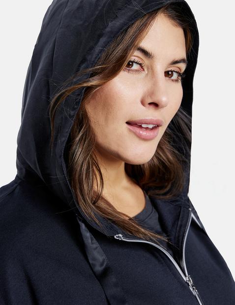 Sweatshirt jacket with organza details