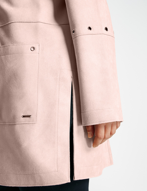Open-fronted long blazer with a suede feel