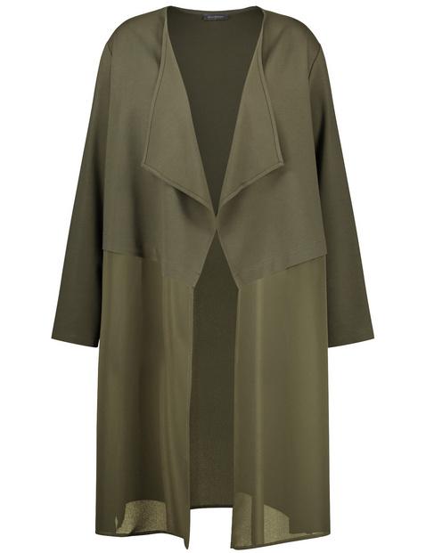 Elegancka długa kurtka z szyfonową naszywką