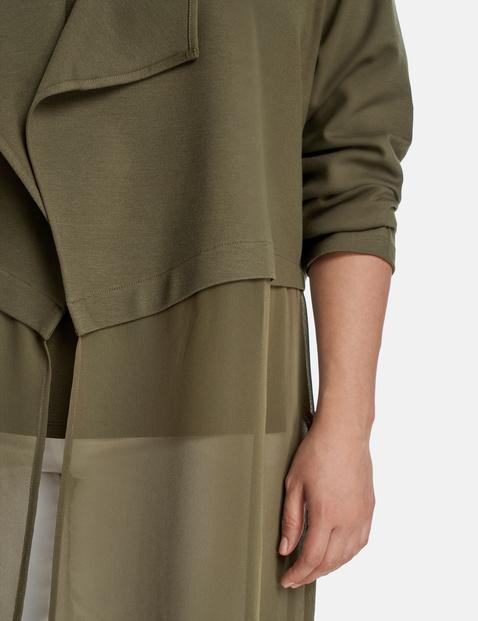 Elegant long jacket with a chiffon appliqué