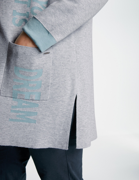 Long cardigan with jacquard lettering