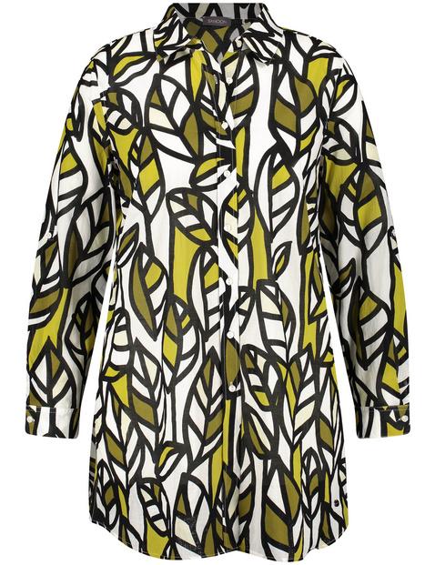 Długa bluzka z nadrukiem w liście, bawełna organiczna