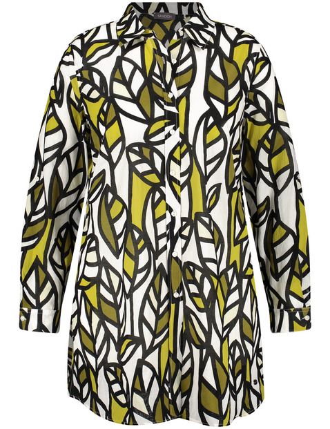 Lange blouse met bladprint van organic cotton