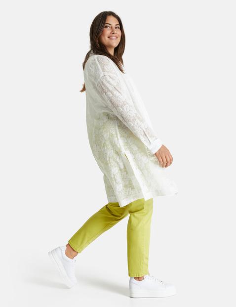 Długa bluzka z prześwitującym, kwiatowym wzorem