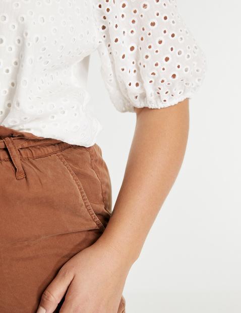 Katoenen blouse met opengewerkt borduursel