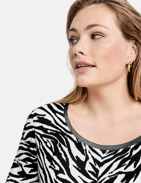 T-shirt met zebraprint all-over