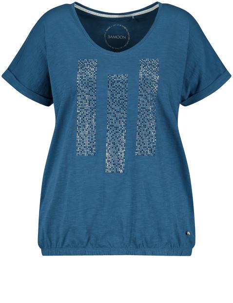 Casual shirt met sierlijke strassteentjes, van GOTS gecertificeerd biologisch katoen