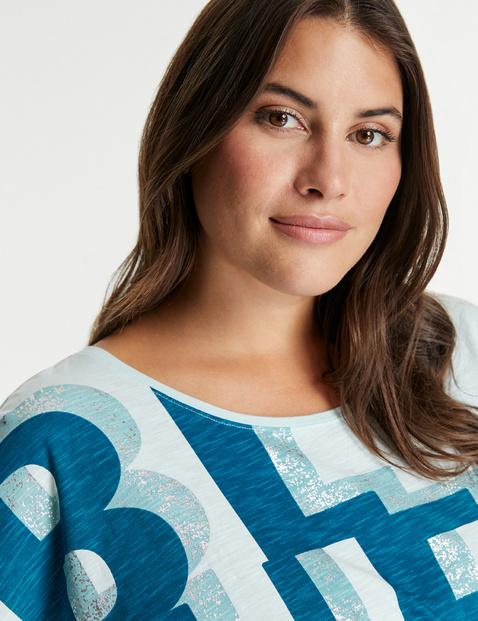 Casual shirt met letterprint GOTS
