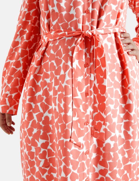EcoVero shirt dress with a heart print