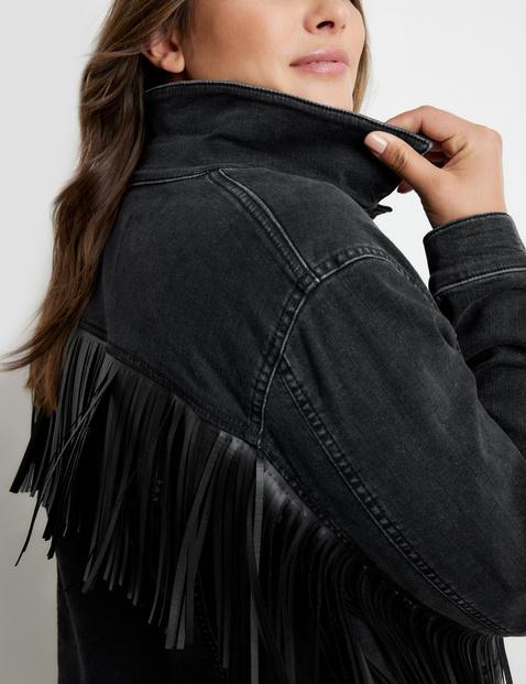 Denim jacket in organic cotton with fringing