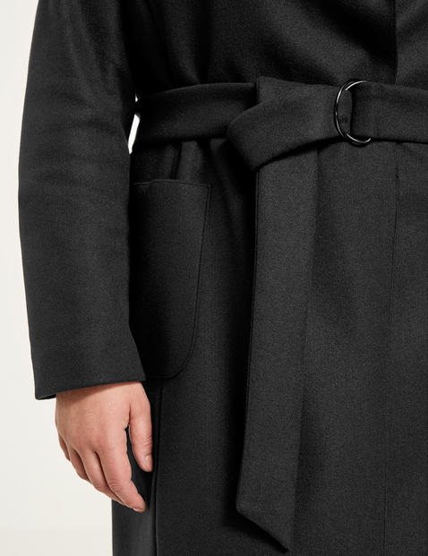 Softly draped coat with a tie-around belt