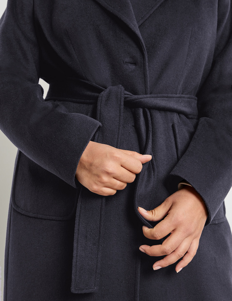 Wool coat with a tie-around belt