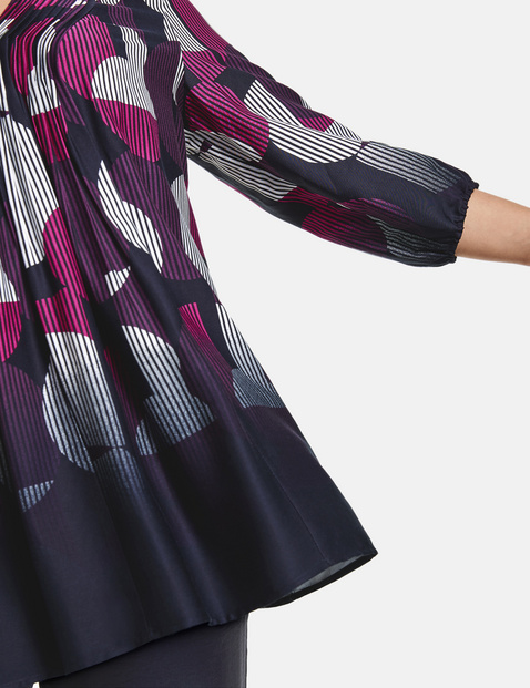 Flared blouse with 3/4-length sleeves