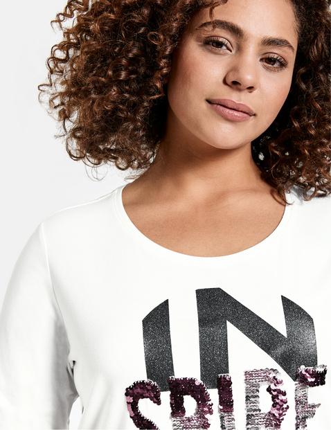 Organic cotton T-shirt with a glittery print