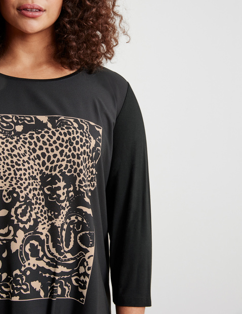 3/4-sleeve top with a leopard print, EcoVero