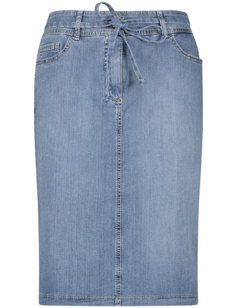 Knielanger Rock in Jeans-Optik