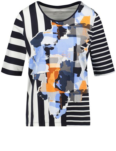 3/4 Arm T-Shirt mit Patchwork-Print