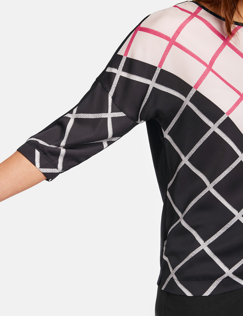 3/4 Arm Shirt mit Diagonalkaro und Colour-Blocking
