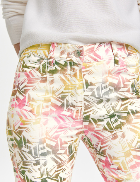 7/8-length jeans with a floral pattern, Regular Fit